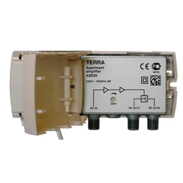 Amplificador de interior, 2 salidas, VHF/UHF, 20dB, 100dBu.