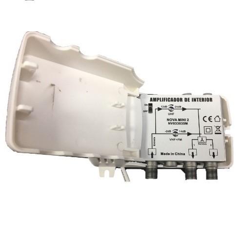 Amplificador de interior, 2 salidas, VHF/UHF, 24dB, 102dBu. Nova Mini 2 5G