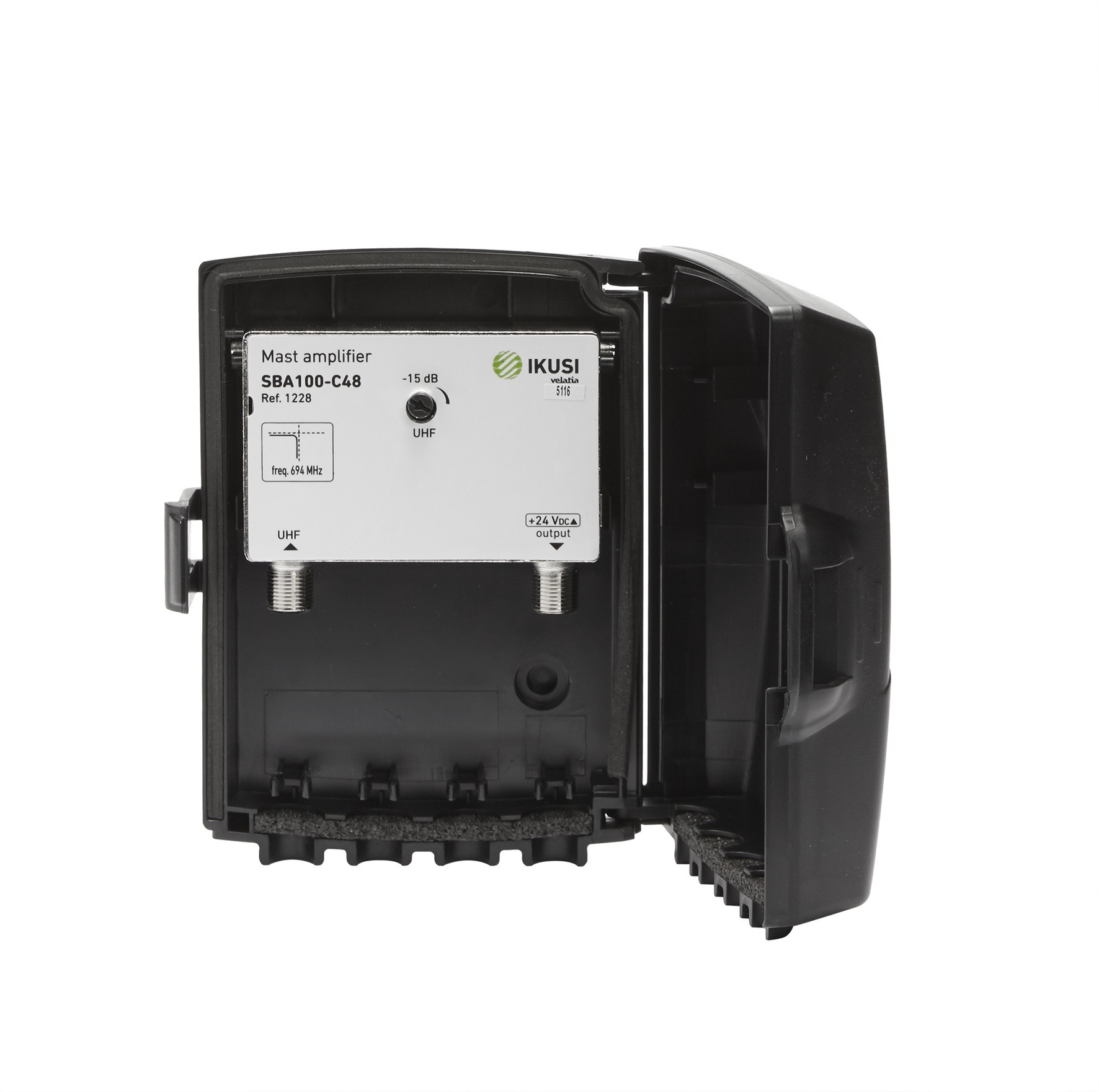 Amplificador de mástil 1 Entrada. UHF (C21/48), 40dB, Ajustable 15dB, 106dBµV