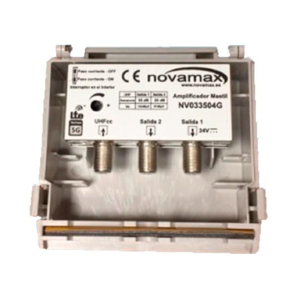 Amplificador de mástil 5G, 1 Entrada. UHF (C21/48), 2 Salidas, 35dB, Ajustable 15dB, 102/87dBuV. Paso DC Conmutable