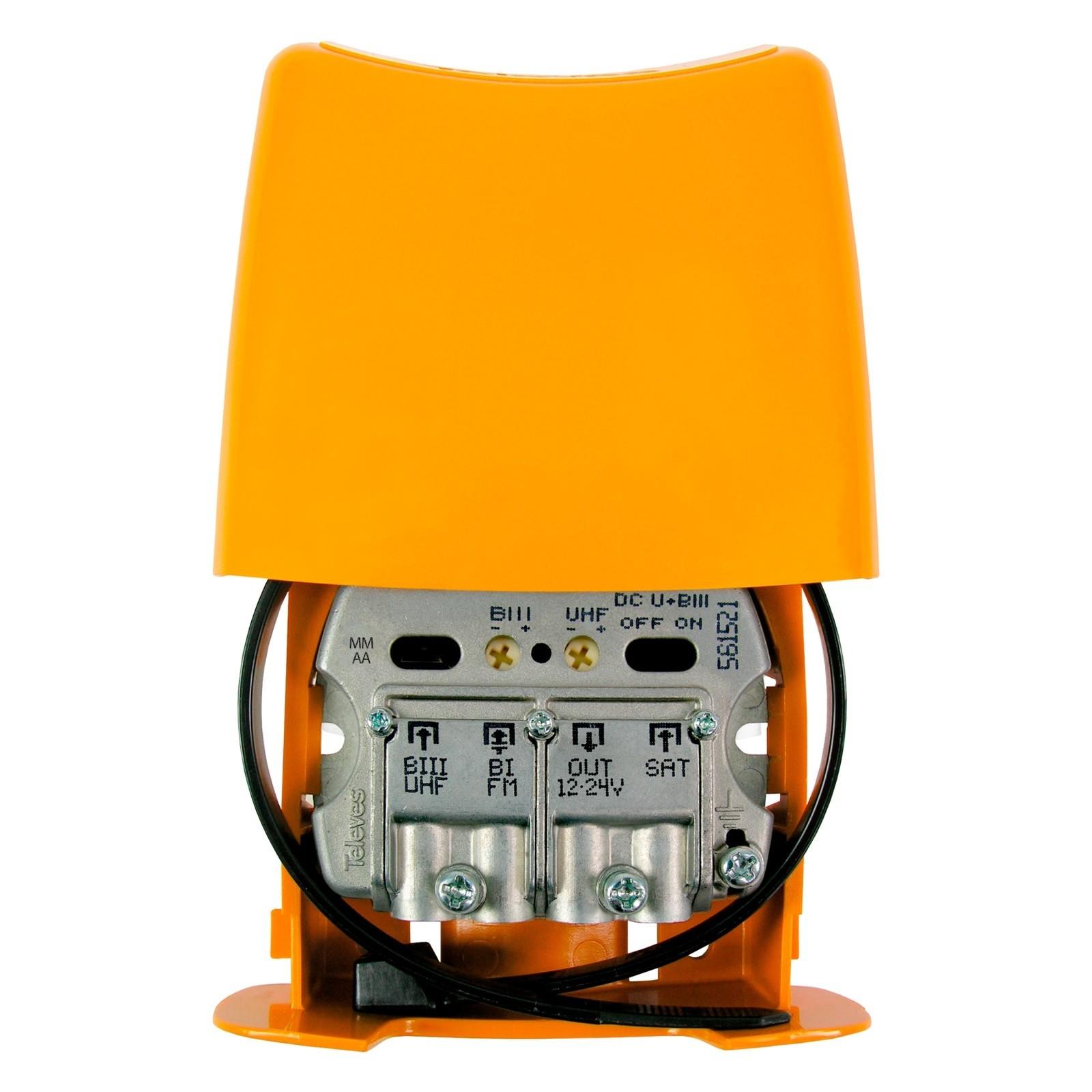 Amplificador de mástil 5G, 3 Entradas. UHF / FM / Mezcla SAT, 28dB, ajustable 15dB,108/106dBuV