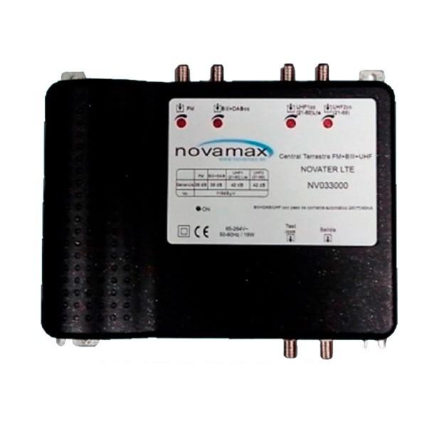 Central multibanda 4E (UHF1 - UHF2- BIII-DAB) y 2 salidas, 42dB, 118 dBuV 4G / 5G