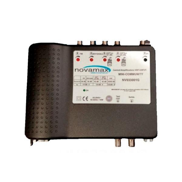 Central multibanda 5E (UHF1 - UHF2- BIII/DAB-SAT) y 2 salidas, 42dB, 118 dBnV