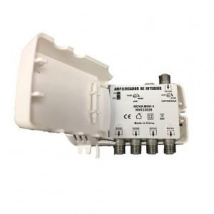 Amplificador de interior Mini, 4 salidas, VHF/UHF, 24dB, 102dBu. Nova Mini 5G