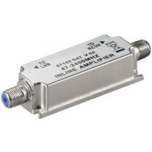 Amplificador de línea para TDT y Satélite (47-2400 MHz), 20dB. No necesita fuente