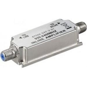 Amplificador de línea satélite, (950-2400Mhz), 20dB. No necesita fuente