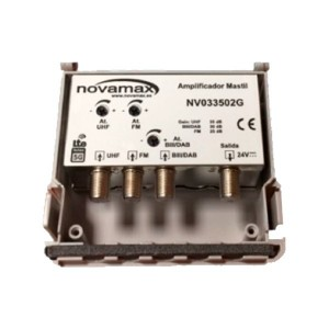 Amplificador de mástil 5G. 3 Entrada. UHF/FM/DAB (C21/48), 35/30/25dB, Ajustable 20dB, 107dBµV. Regulación individual