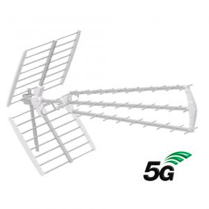Antena UHF 5G pasiva. 18dB. C48. D/A 28dB. Triplex. Color blanco